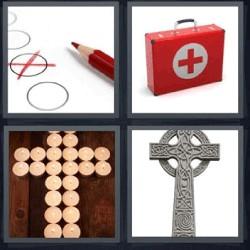 4 fotos 1 palabra lápiz rojo maletín velas cruz