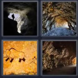 4 fotos 1 palabra cuevas montaña túnel