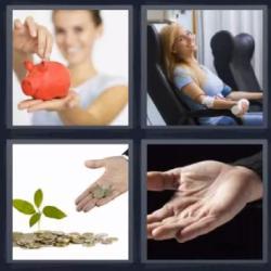 4 fotos 1 palabra alcancía mujer monedas