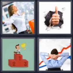 4 fotos 1 palabra pulgar arriba podio