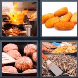 4 fotos 1 palabra croquetas albóndigas