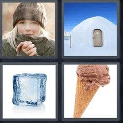 4 fotos 1 palabra helado cubito iglú mujer