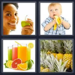 4 fotos 1 palabra niño plátano piña