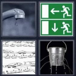 4 fotos 1 palabra cubo con agujeros grifo