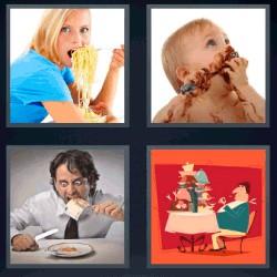 4 fotos 1 palabra mujer comiendo espagueti