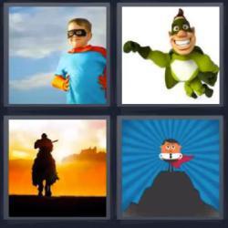 4 fotos 1 palabra superhéroe caballero