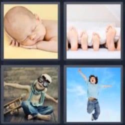 4 fotos 1 palabra bebe dormido pies
