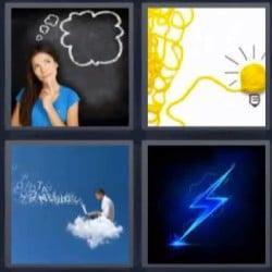 4 fotos 1 palabra mujer pensando hombre en nube