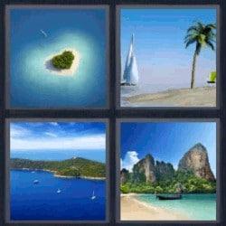 4 fotos 1 palabra isla en forma de corazón