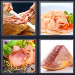 4 fotos 1 palabra jamón carne