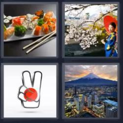 4 fotos 1 palabra sushi japonesa