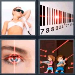 4 fotos 1 palabra código de barras