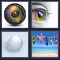 4 fotos 1 palabra ojo cámara