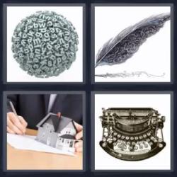 4 fotos 1 palabra pluma letras