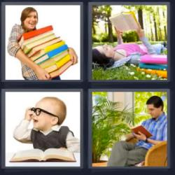 4 fotos 1 palabra mujer leyendo libros