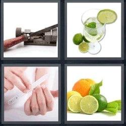 4 fotos 1 palabra limón lima de uñas