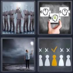 4 fotos 1 palabra hombres sin cabeza