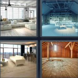 4 fotos 1 palabra salón blanco