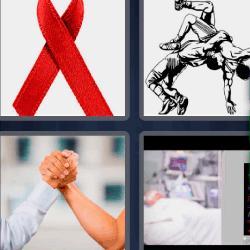 4 fotos 1 palabra lazo rojo pulso