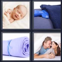 4 fotos 1 palabra bebé manta