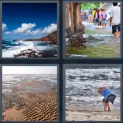 4 fotos 1 palabra playa inundación