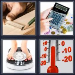4 fotos 1 palabra calculadora báscula