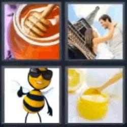 4 fotos 1 palabra miel abeja