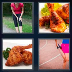 4 fotos 1 palabra pollo mujer