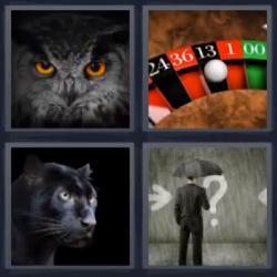 4 fotos 1 palabra ruleta pantera búho