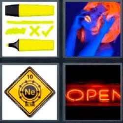 4 fotos 1 palabra letrero open