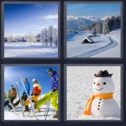 4 fotos 1 palabra muñeco de nieve