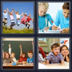4 fotos 1 palabra niños saltando