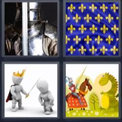 4 fotos 1 palabra dragon y caballero