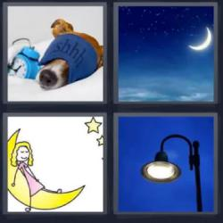 4 fotos 1 palabra luna farola