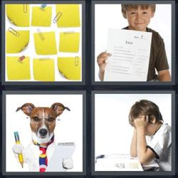 4 fotos 1 palabra perro con lentes