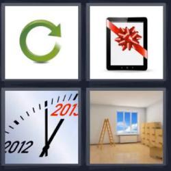 4 fotos 1 palabra tablet con moño