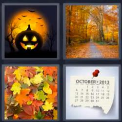 4 fotos 1 palabra calabaza hojas