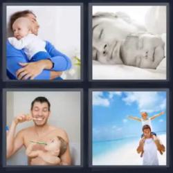 4 fotos 1 palabra padre con su hijo
