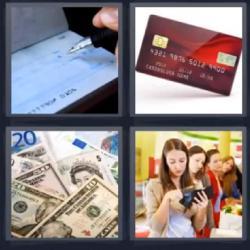 4 fotos 1 palabra tarjeta billetes