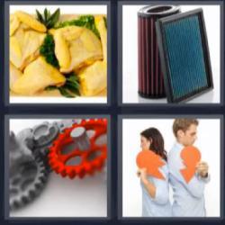 4 fotos 1 palabra corazón roto engranaje