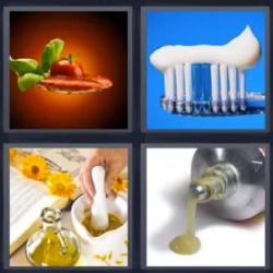 4 fotos 1 palabra cepillo de dientes cola