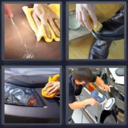 4 fotos 1 palabra limpiando zapatos