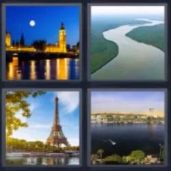 4 fotos 1 palabra Torre Eiffel, río, Londres, ciudad
