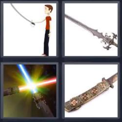 4 fotos 1 palabra espadas laser