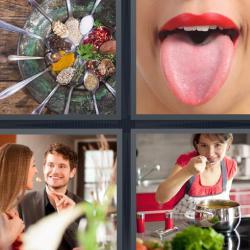 4 fotos 1 palabra cucharas lengua