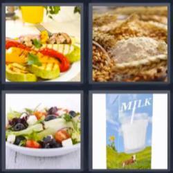4 fotos 1 palabra leche ensalada