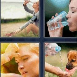 4 fotos 1 palabra mujer bebiendo agua