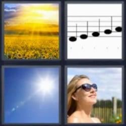 4 fotos 1 palabra campo de girasoles notas musicales sol