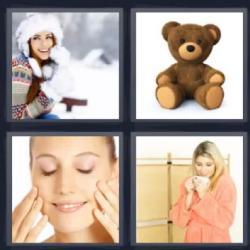 4 fotos 1 palabra peluche nieve