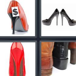 4 fotos 1 palabra zapato rojo